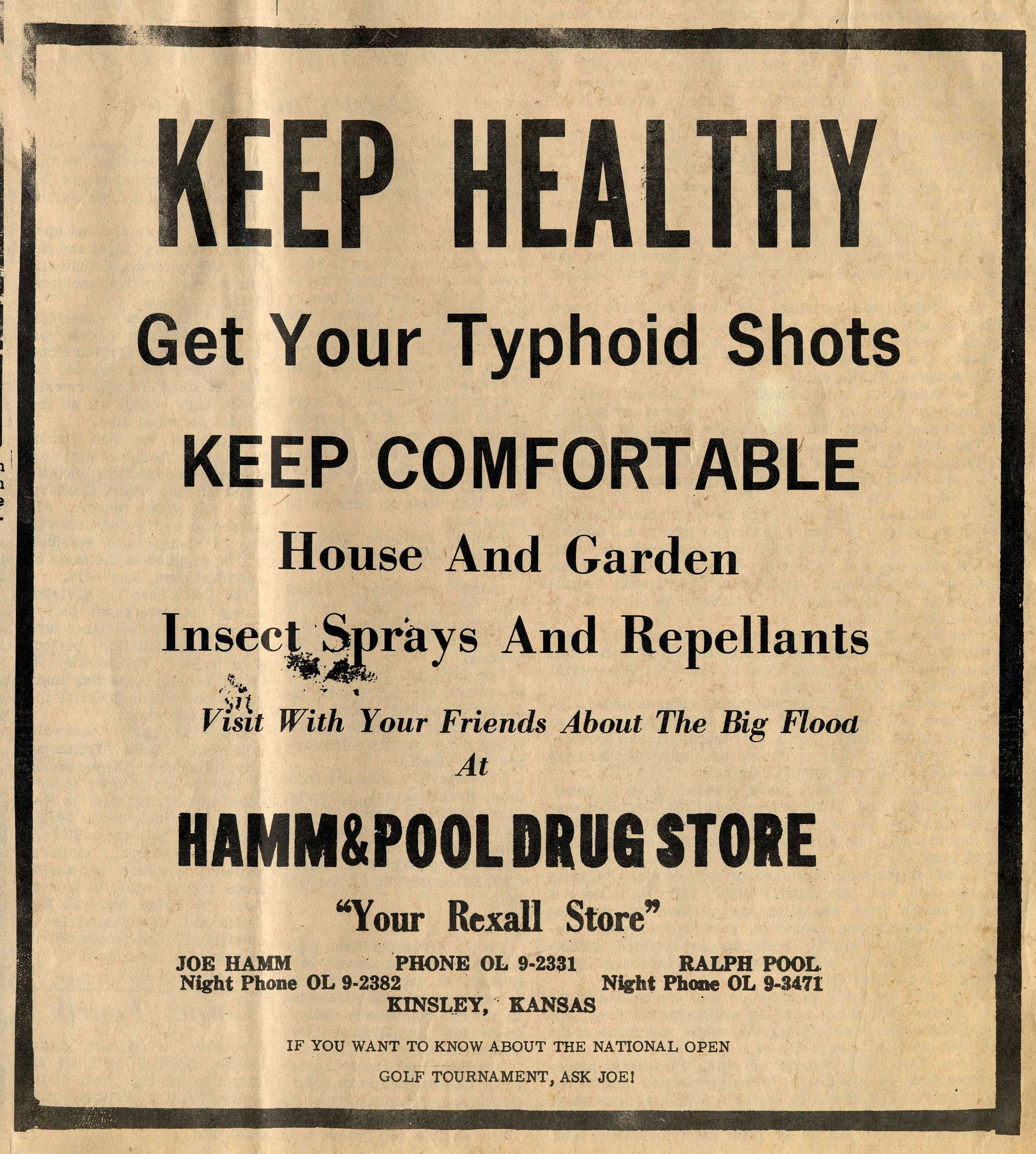 1965 Drug Store Ad encouraging Typhoid Shots